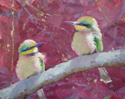 2 Bee-eaters 8x10in