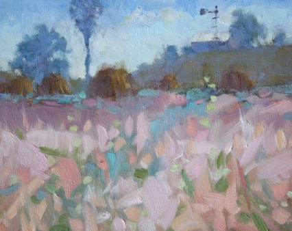 Backlit Pink Grasses, 10X12in