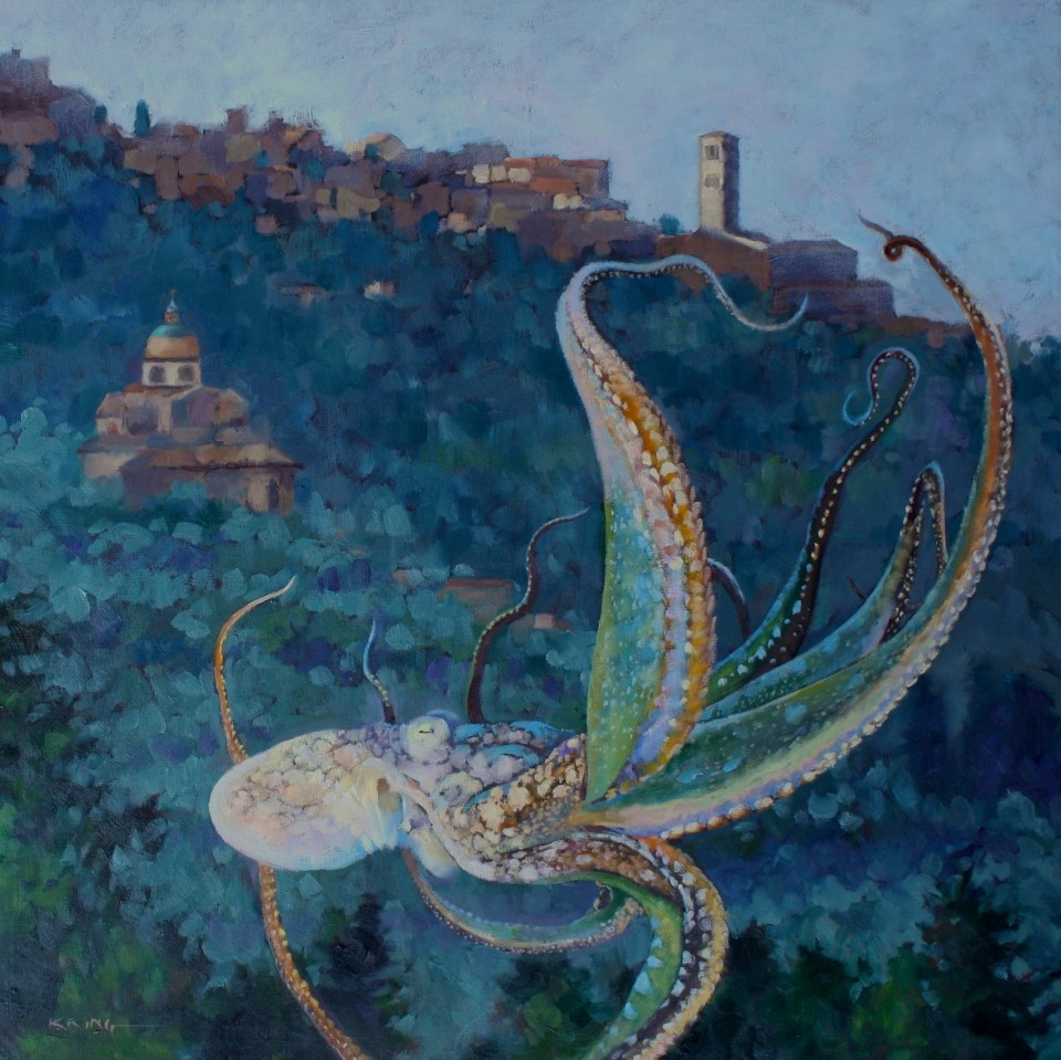 20,000 Leagues Over Cortona 60x60cm