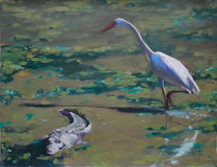 Croc & Heron in Nile Cabbage