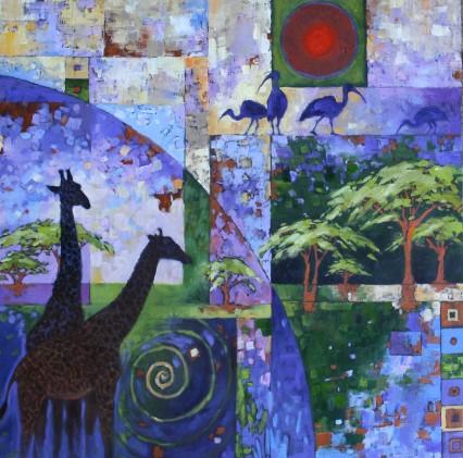 Giraffe Patchwork #2 60x60cm