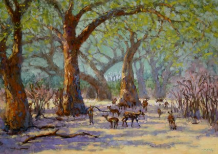 Winterthorns and 1 Bushbuck (+ impalas), 60x84cm