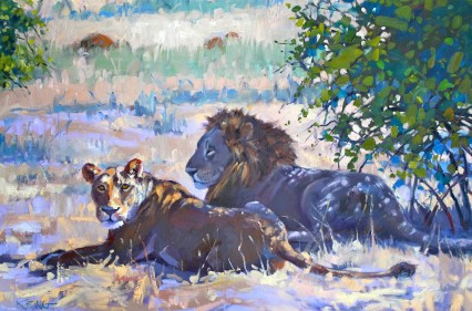 Lions in the Shade, Chobe 40x60cm