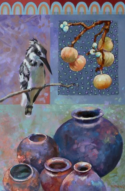 Pied Kingfisher, Pots & Spots 40x60cm
