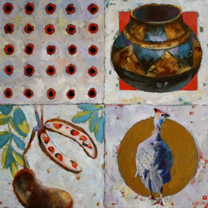 Pods, Pots & Spots (and G.F). 40x40cm