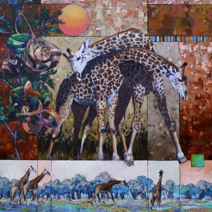 Thats Amore (Giraffes & Umbrela Thorn) 50x50cm