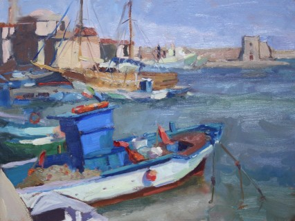 Trani Harbor, Puglia, 9x12in