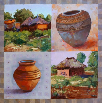 Village Life (the Bicycle, Pots & Spots) 50x50cm
