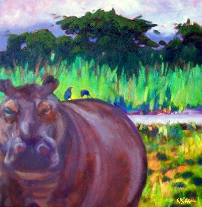 hippo & oxpeckers