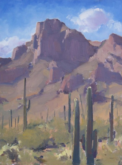 saguaros & rock face (plein air)
