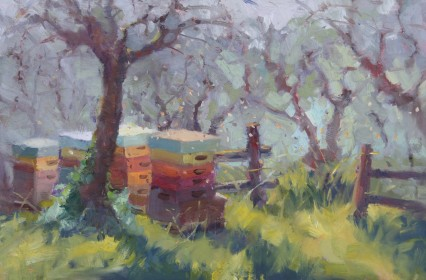 Bees Amongst the Olives #2. Oil 20x30cm