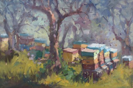 Bees Amongst the Olives #1 20x30cm