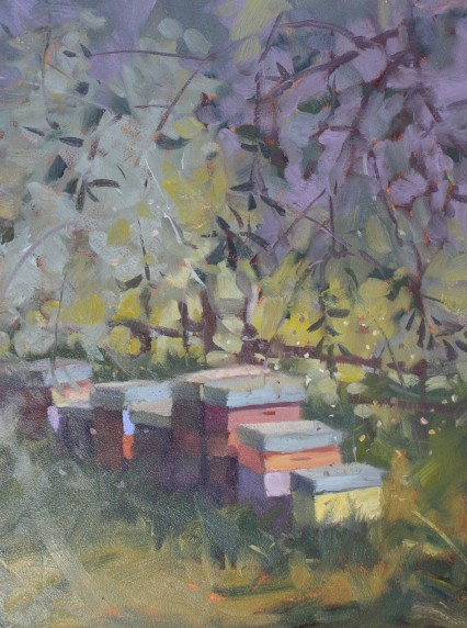 Bees Amongst the Olives #3, 12x9in