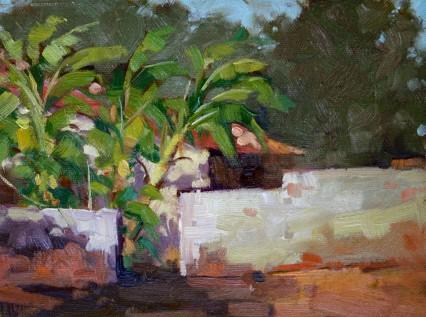 Kaonga Wall & Banana Palms, oil 6x8 in
