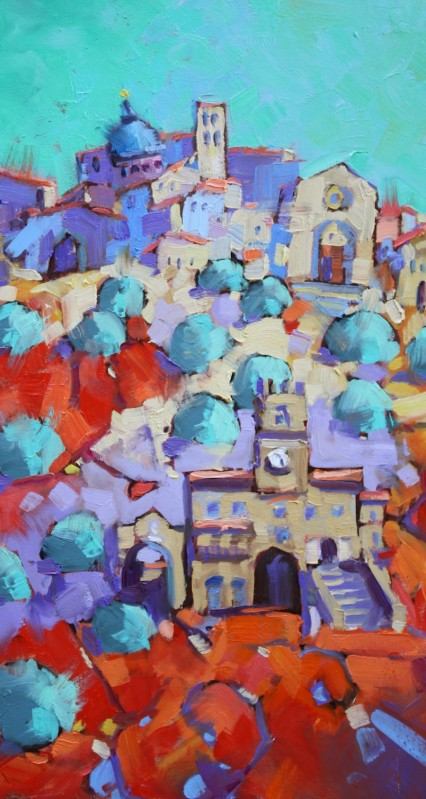 jewel on the hill (turq Sky) 42x23cm