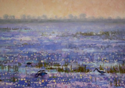 Sparkling Chobe with Spoonbills 50x70cm
