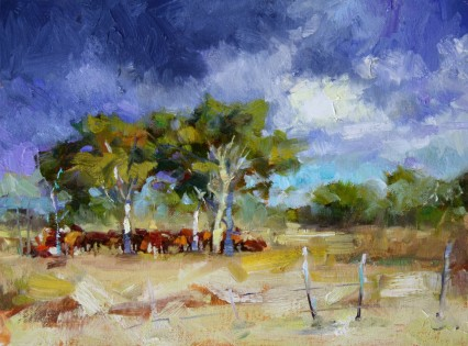 "Study for ""The Happy Cows of Sikalozia"" 8x10in"