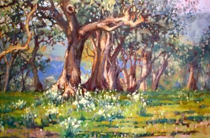 Olives & Daffodils, 60x90cm